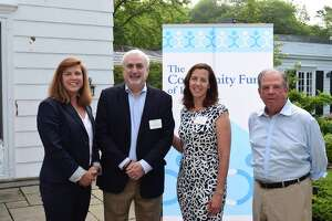 The Community Fund Executive Director, Carrie Bernier (left), Child Guidance Center of Mid-Fairfield County CEO, Roy Berger, The Community Fund Grants Director, Lisa Haas, and The Community Fund Board President, Steve Ward.