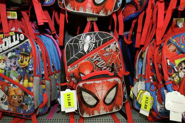 School backpacks are shown at Walmart Tomball, 22605 TX-249, Tuesday, July 25, 2017, in Tomball. ( Melissa Phillip / Houston Chronicle )