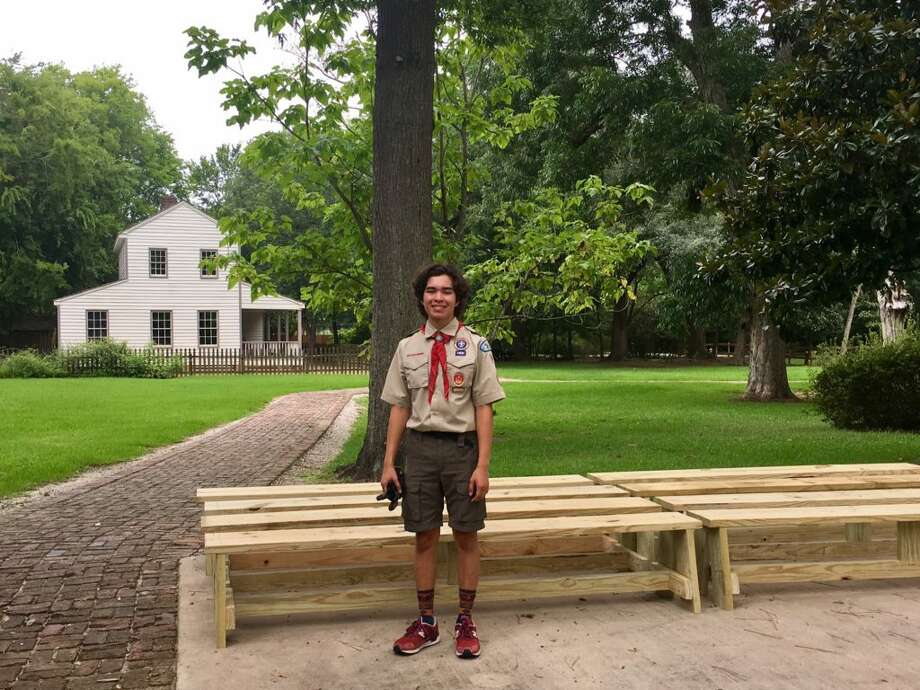Victor Thornton, Eagle Scout candidate and Kelly High School student, chose to build benches at the John Jay French Museum for his Eagle Scout Project. Photo: Beaumont Heritage Society