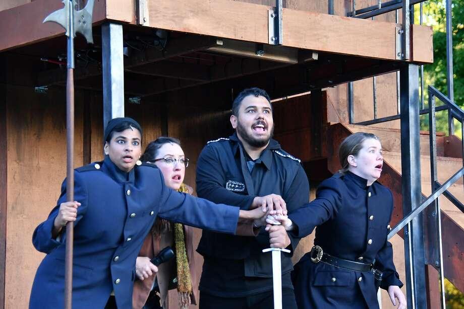 "From left: Radhika Rao, Maryssa Wanlass, Nathaniel Andalis and Melissa Quine in San Francisco Shakespeare Festival's ""Hamlet."" Photo: Jay Yamada, San Francisco Shakespeare Festival"