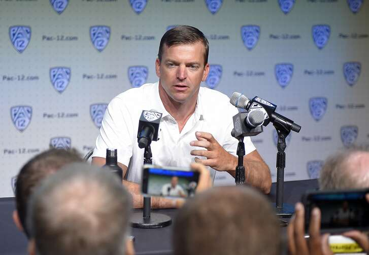 Cal head coach Justin Wilcox speaks at Pac-12 NCAA college football Media Day, Wednesday, July 26, 2017, in the Hollywood section of Los Angeles. (AP Photo/Mark J. Terrill)