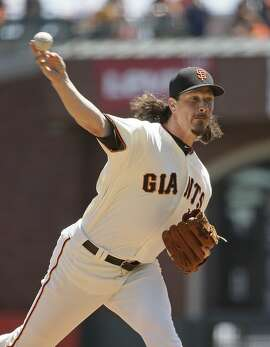 San Francisco Giants starting pitcher Jeff Samardzija works in the first inning of a baseball game against the Pittsburgh Pirates Wednesday, July 26, 2017, in San Francisco. (AP Photo/Eric Risberg)