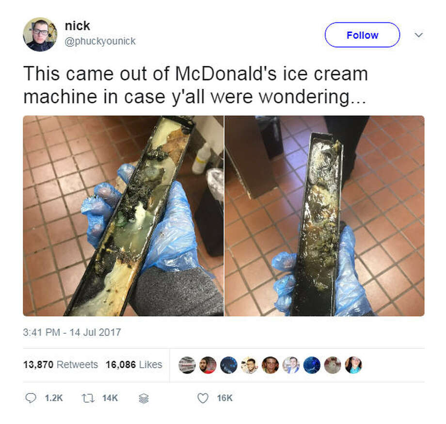 A McDonald's employee was fired after sharing gross photos from the store where he worked showing a moldy ice cream drip tray, a grease trap and even so unknown goopy stuff on the floor.Photo: @phuckyounick Twitter Photo: Twitter
