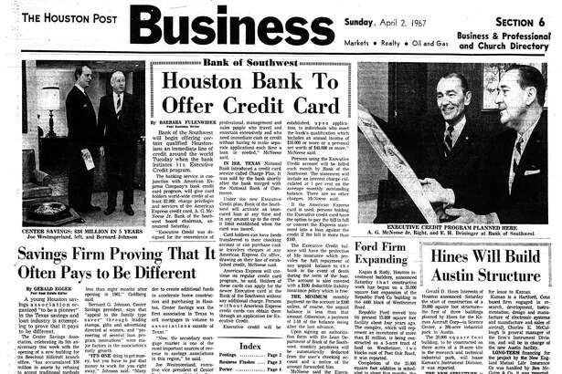 Houston Post inside page – April 2, 1967 - section 6, page 1. Houston Bank To Offer Credit Card