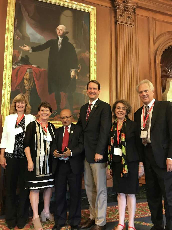 Phyllis Behlen,  of Greenwich; Nancy Gardiner, of Trumbull, Kul Gautam,  formerly of Greenwich, U.S. Rep. Jim Himes, D-Conn.; Lucinda Winslow and Bill Baker, both of Stamford;  at the Capitol in Washington. Photo: Contributed Photo / Connecticut Post Contributed