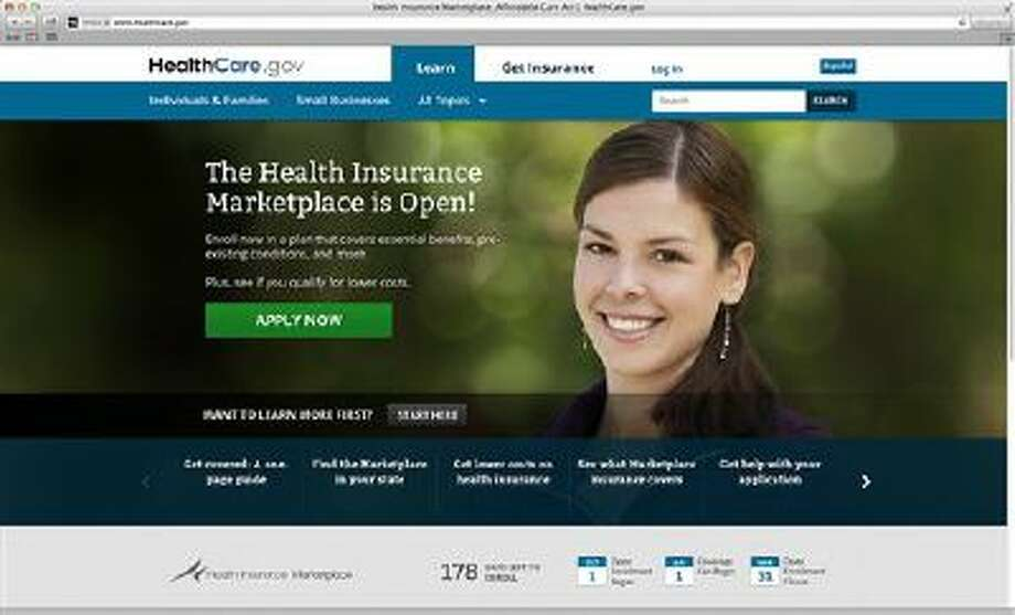 This photo provided by HHS shows the main landing web page for HealthCare.gov. The government's new health insurance marketplaces are drawing lots of rotten tomatoes in early reviews. But people are at least checking the things out. According to an AP-GfK poll, 7 percent of Americans report that somebody in their household has tried to sign up for insurance through the health care exchanges. While that?s a small percentage, it could represent more than 20 million people. (AP Photo/HHS) Photo: AP / HHS