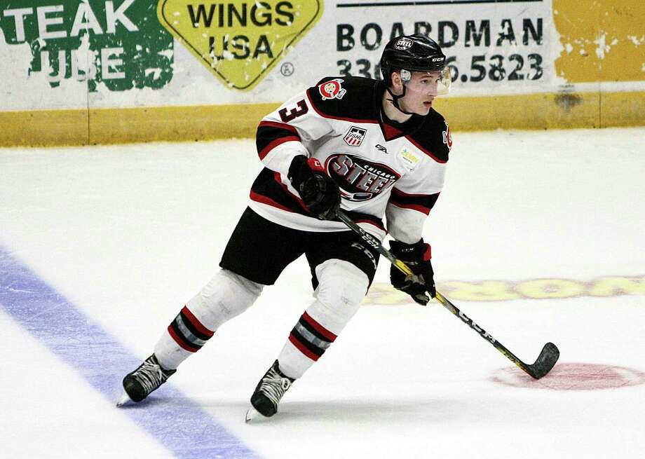Old Greenwich native Jack Badini, shown here with the Chicago Steel of the USHL earlier this year, was drafted in third round by the Anaheim Ducks in the recent NHL Draft. Badini will go on to play at Harvard University. Photo: Contributed Photo / Contributed Photo / Greenwich Time Contributed