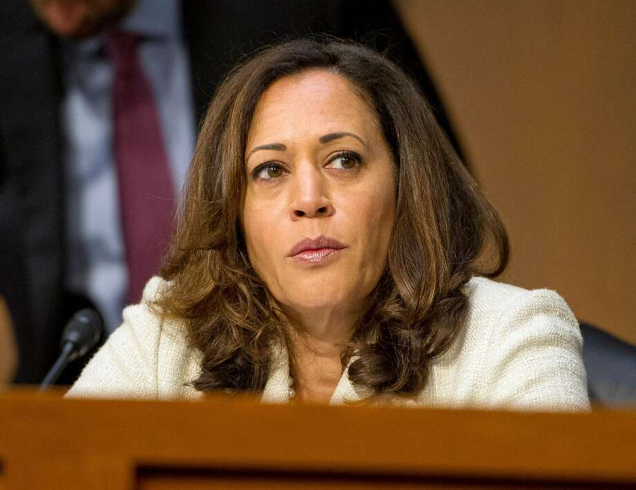 United States Senator Kamala Harris (D-Calif) questions nominees for security positions in various United States Government agencies before the United States Senate Select Committee on Intelligence on Capitol Hill in Washington, D.C. on Wednesday, July 19, 2017. Harris unveiled a bill to revamp the bail bond system.  (Ron Sachs/CNP/Sipa USA/TNS) Photo: CNP, TNS