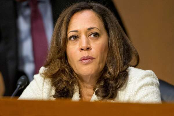 United States Senator Kamala Harris (D-Calif) questions nominees for security positions in various United States Government agencies before the United States Senate Select Committee on Intelligence on Capitol Hill in Washington, D.C. on Wednesday, July 19, 2017. Harris unveiled a bill to revamp the bail bond system.  (Ron Sachs/CNP/Sipa USA/TNS)