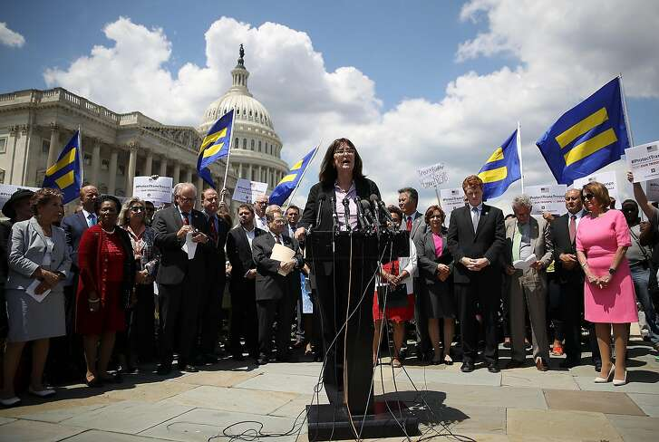 WASHINGTON, DC - JULY 26:  Mara Keisling, executive director of the National Center for Transgender Equality, speaks during a press conference condemning the new ban on transgendered servicemembers on July 26, 2017 in Washington, DC.  U.S. Rep. Joe Kennedy held a news conference with members of the House leadership and the LGBT Equality Caucus to denounce the decision by U.S. President Donald Trump to ban transgendered servicemembers.  (Photo by Justin Sullivan/Getty Images)
