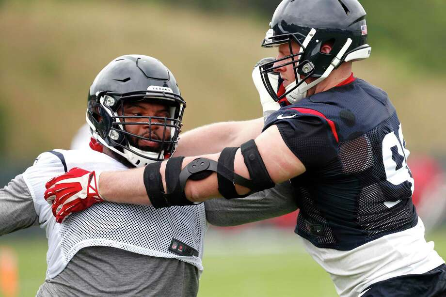 Houston Texans offensive guard Jeff Allen (79) and defensive end J.J. Watt (99) run a blocking drill during Texans training camp at the Greenbrier on Wednesday, July 26, 2017, in White Sulphur Springs, W.Va. ( Brett Coomer / Houston Chronicle ) Photo: Brett Coomer, Staff / © 2017 Houston Chronicle}