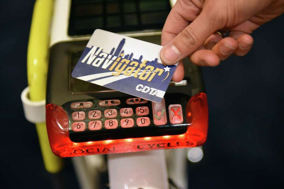 Navigator card and key pad of a Social Bicycle of the type that will be used by CDTA's upcoming bike share program during a news conference Wednesday Dec. 14, 2016 in Albany, NY.  (John Carl D'Annibale / Times Union) Photo: John Carl D'Annibale / 20039142A