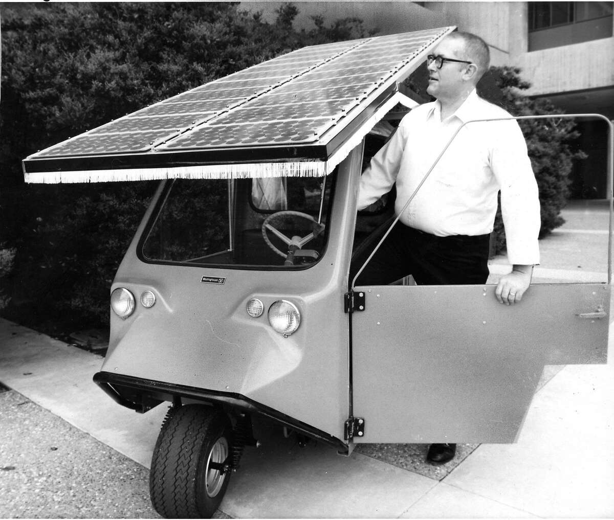 Guy Armantrout, a scientist at the Lawrence Livermore Laboratory, uses this solar surrey in 1978 to test the reliability of various solar cells.