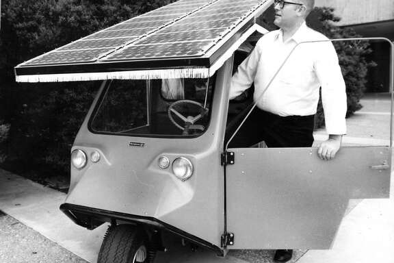 Guy Armantrout, scientist at the Lawrence Livermore Laboratory uses this solar surrey to test the reliaility of various solar cells.  The public can ride the surrey on Sun Day, May 3, 1978  Handout Photo ran 04/28/1978, P. 19
