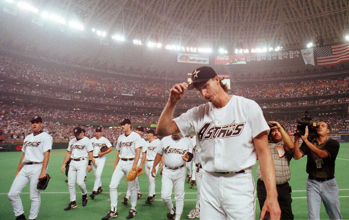 Randy Johnson, right, definitely proved worthy of the Astrodome's bright lights after being acquired at the 1998 deadline. He electrified Houston fans as few Astros trade pickups have done during their history.