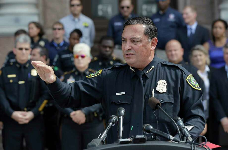 Houston Police Chief Art Acevedo and other law enforcement officials Tuesday spoke out in Austin against the bathroom bill. (AP Photo/Eric Gay) Photo: Eric Gay, STF / Copyright 2017 The Associated Press. All rights reserved.