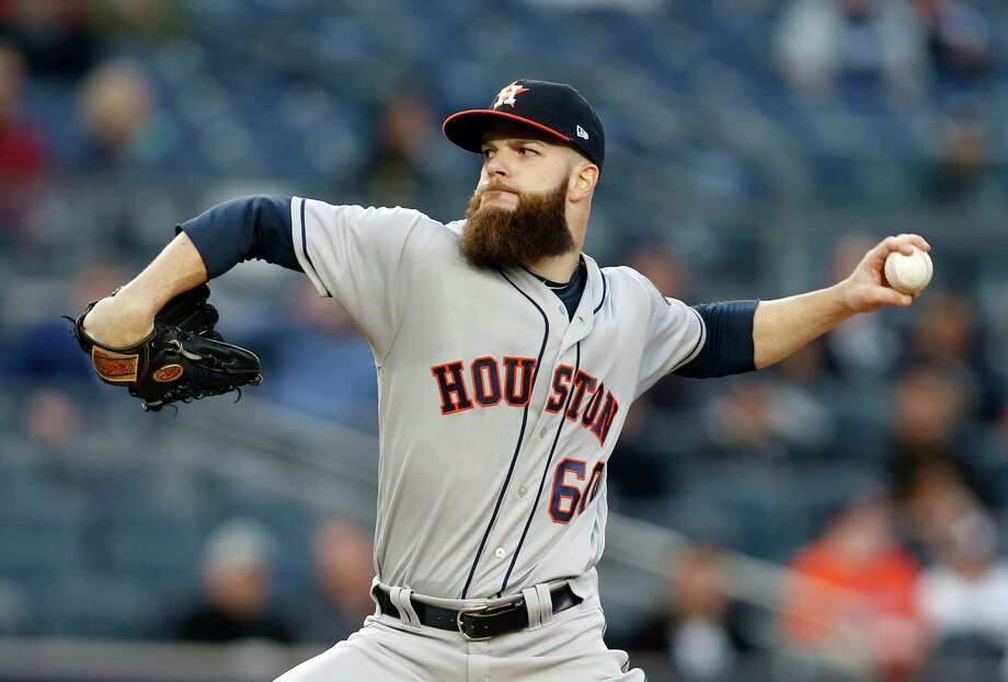 FILE - In this May 11, 2017, file photo, Houston Astros starting pitcher Dallas Keuchel delivers to a New York Yankees batter during a baseball game in New York. Keuchel is set to rejoin the Astros' rotation on Friday, July 28, at the Detroit Tigers. The 2015 AL Cy Young Award winner has not pitched since June 2 due to a neck injury that sent him to the disabled list for the second time this year.  (AP Photo/Kathy Willens, File) Photo: Kathy Willens, STF / Copyright 2017 The Associated Press. All rights reserved.