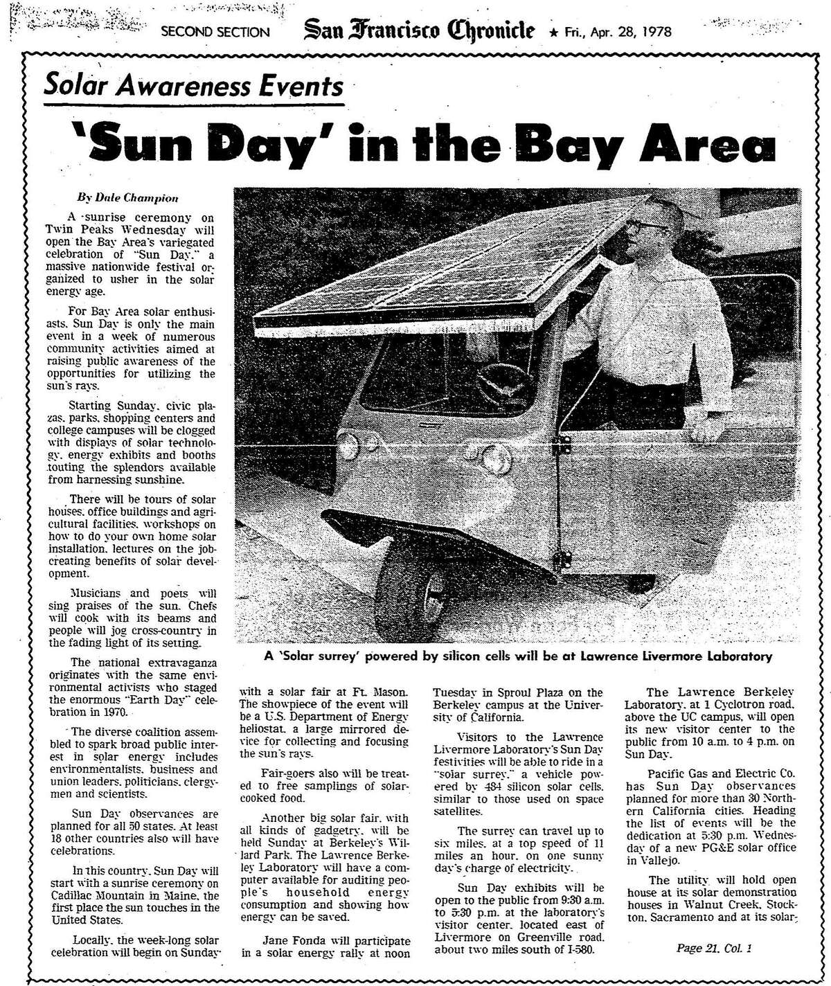 An April 28, 1978 Chronicle article on the upcoming Sun Day festivities. They included speakers and solar energy demonstrations