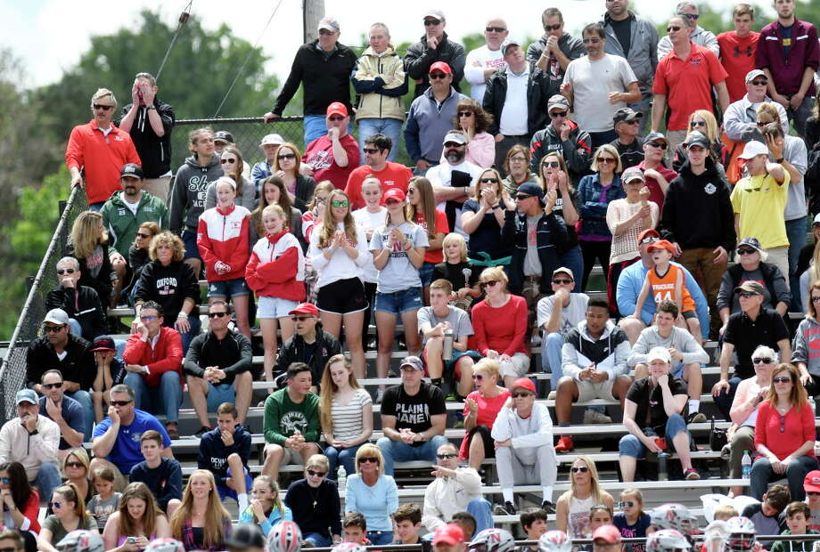 Niskayuna fans cheer for their team against Yorktown during a Regional Class B boys high school lacrosse game in Rotterdam, N.Y., Saturday, June 3, 2017. Yorktown won 12-11. (Hans Pennink / Special to the Times Union) ORG XMIT: HP125 Photo: Hans Pennink, Times Union / 40040660A