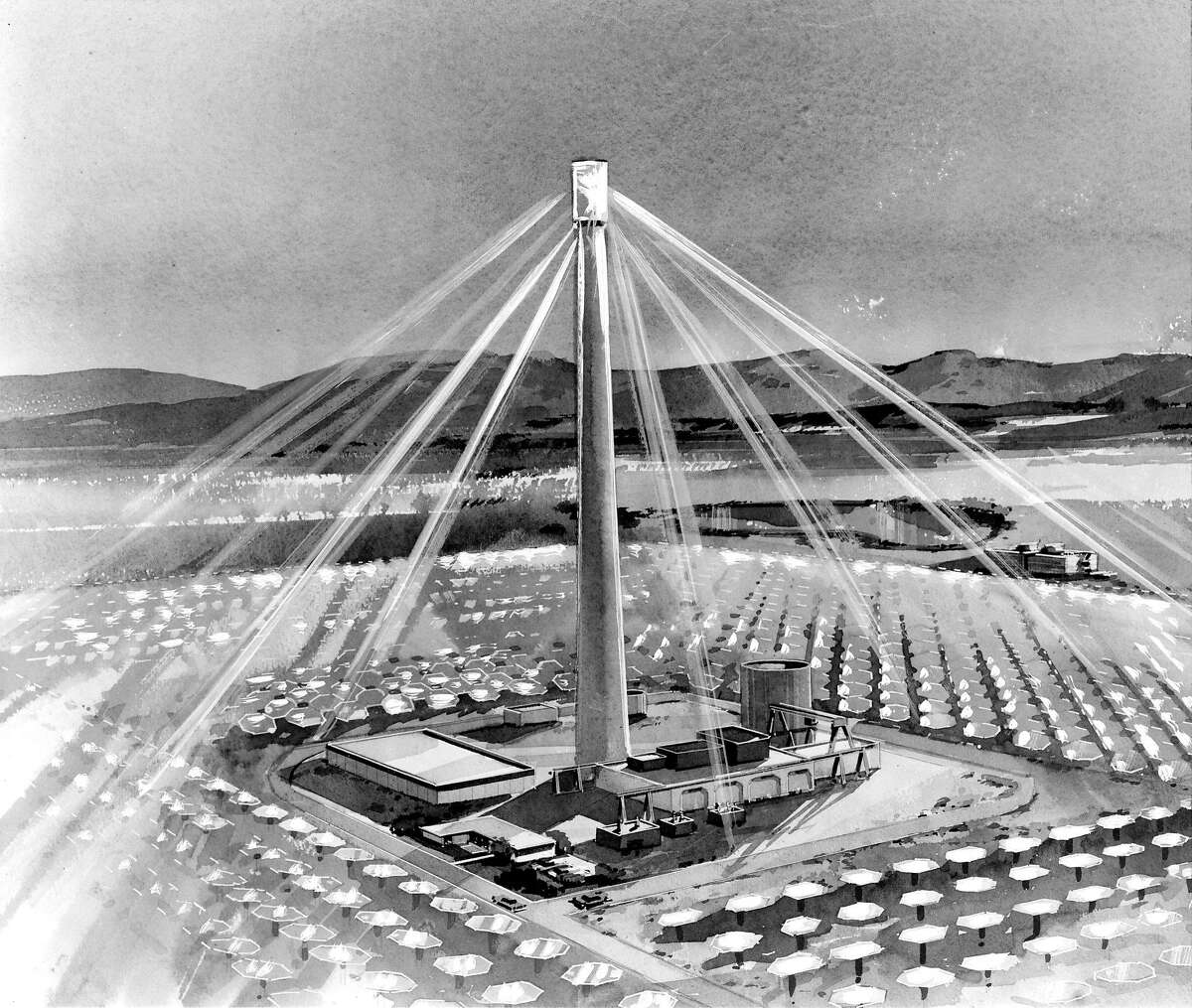 A drawing of a propsed solar energy power plant in the Mojave Desert Photo ran 1/13/1977, p. 53 Handout