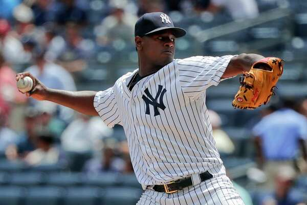 New York Yankees pitcher Luis Severino delivers against the Cincinnati Reds during the first inning of a baseball game, Wednesday, July 26, 2017, in New York. (AP Photo/Julie Jacobson) ORG XMIT: NYJJ101