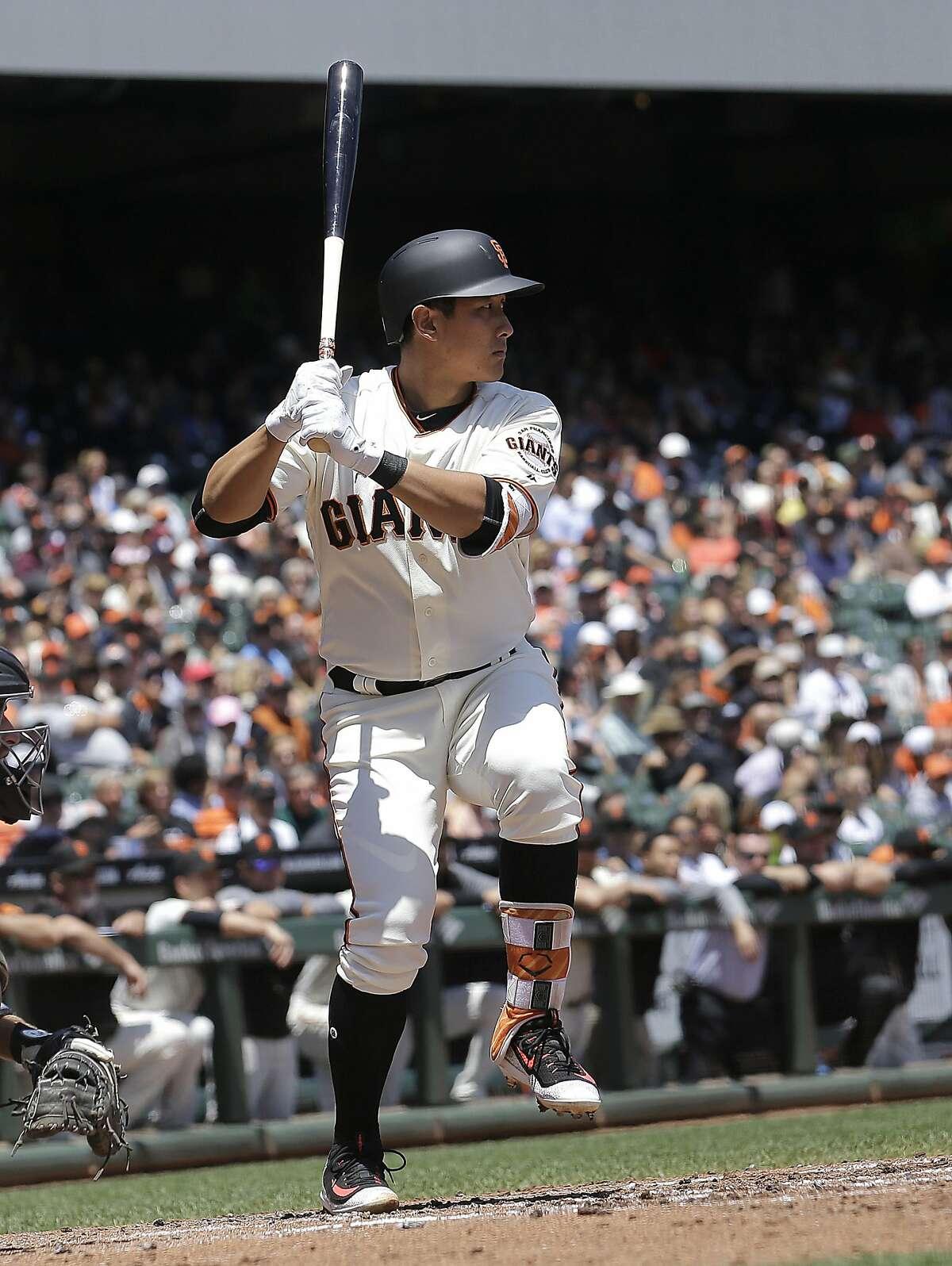 San Francisco Giants' Jae-Gyun Hwang, of South Korea, during a baseball game against the Colorado Rockies in San Francisco, Wednesday, June 28, 2017. (AP Photo/Jeff Chiu)