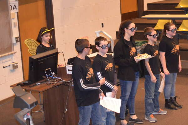 """A First Lego League robotics team, comprised of Ravena-Coeymans-Selkirk students won the qualifying tournament at Rensselaer Polytechnic Institute on Saturday, Dec. 10. The team, called """"The Buzz,"""" is coached by Rick Robertson and Erik Deyoe. Team members are Julia Meyer (Grade 8, RCS Middle School), Will Robertson (Grade 7, RCS Middle School), Gavin Trosclair (Grade 7, RCS Middle school), Arianna Ortiz (Grade 7, Homeschooled), Elizabeth Robertson (Grade 6, RCS Middle School) and Max Deyoe (Grade 5, AW Becker Elementary). (Sumbitted photo)"""