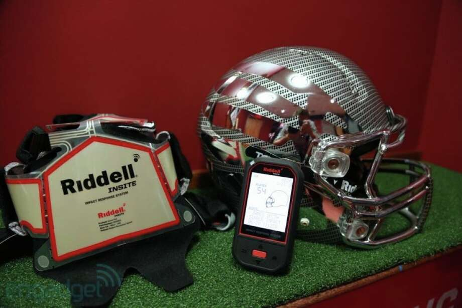 Riddell's InSite System, which will be used by Deer Park and other schools this season, includes sensors that attach to the inside of the helmet and a hand-held monitor that sends impact results to the team's staff.