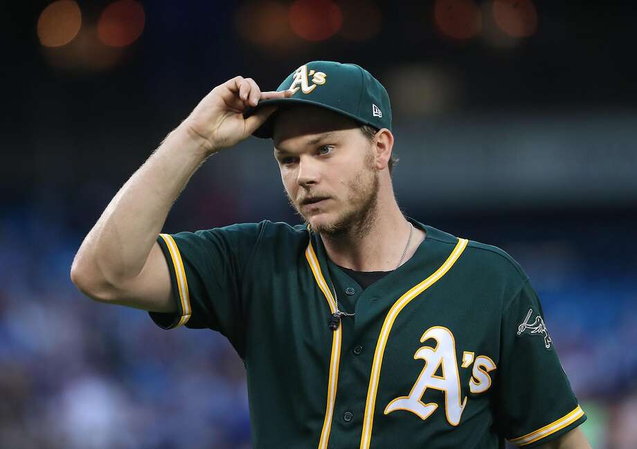 TORONTO, ON - JULY 25: Sonny Gray #54 of the Oakland Athletics walks to his dugout after retiring the side in the third inning during MLB game action against the Toronto Blue Jays at Rogers Centre on July 25, 2017 in Toronto, Canada. (Photo by Tom Szczerbowski/Getty Images) Photo: Tom Szczerbowski, Getty Images