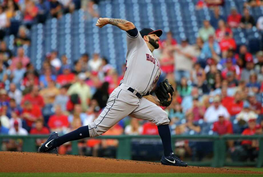 PHILADELPHIA, PA - JULY 26: Starting pitcher Mike Fiers #54 of the Houston Astros throws a pitch in the first inning during a game against the Philadelphia Phillies at Citizens Bank Park on July 26, 2017 in Philadelphia, Pennsylvania. Photo: Hunter Martin, Getty Images / 2017 Getty Images