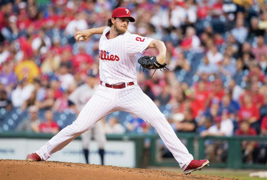 Philadelphia Phillies starting pitcher Aaron Nola throws during the third inning of a baseball game against the Houston Astros, Wednesday, July 26, 2017, in Philadelphia. (AP Photo/Chris Szagola) Photo: Chris Szagola, Associated Press / FR170982 AP