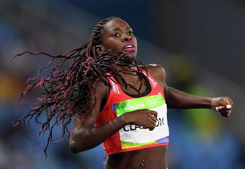 Grace Claxton of Puerto Rico reacts after competing in the Women's 400m Hurdles Round 1 - Heat 2 on Day 10 of the Rio 2016 Olympic Games at the Olympic Stadium on August 15, 2016 in Rio de Janeiro, Brazil. The former University at Albany track starput her life on hold for four years with a clear goal: getting back to the Olympics to represent her native Puerto Rico.