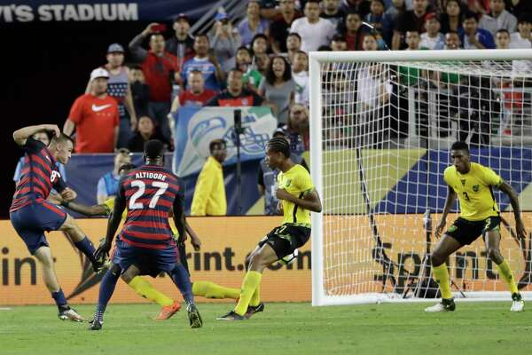 United States' Jordan Morris scores his team's second goal against Jamaica during the second half of the Gold Cup final soccer match in Santa Clara, Calif., Wednesday, July 26, 2017. (AP Photo/Marcio Jose Sanchez) ORG XMIT: FXN152