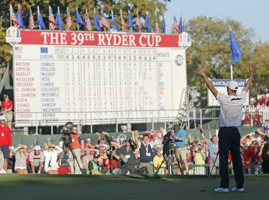 Europe's Martin Kaymer celebrates after winning the Ryder Cup PGA golf tournament Sunday, Sept. 30, 2012, at the Medinah Country Club in Medinah, Ill. (AP Photo/Charles Rex Arbogast) Photo: AP / AP2012