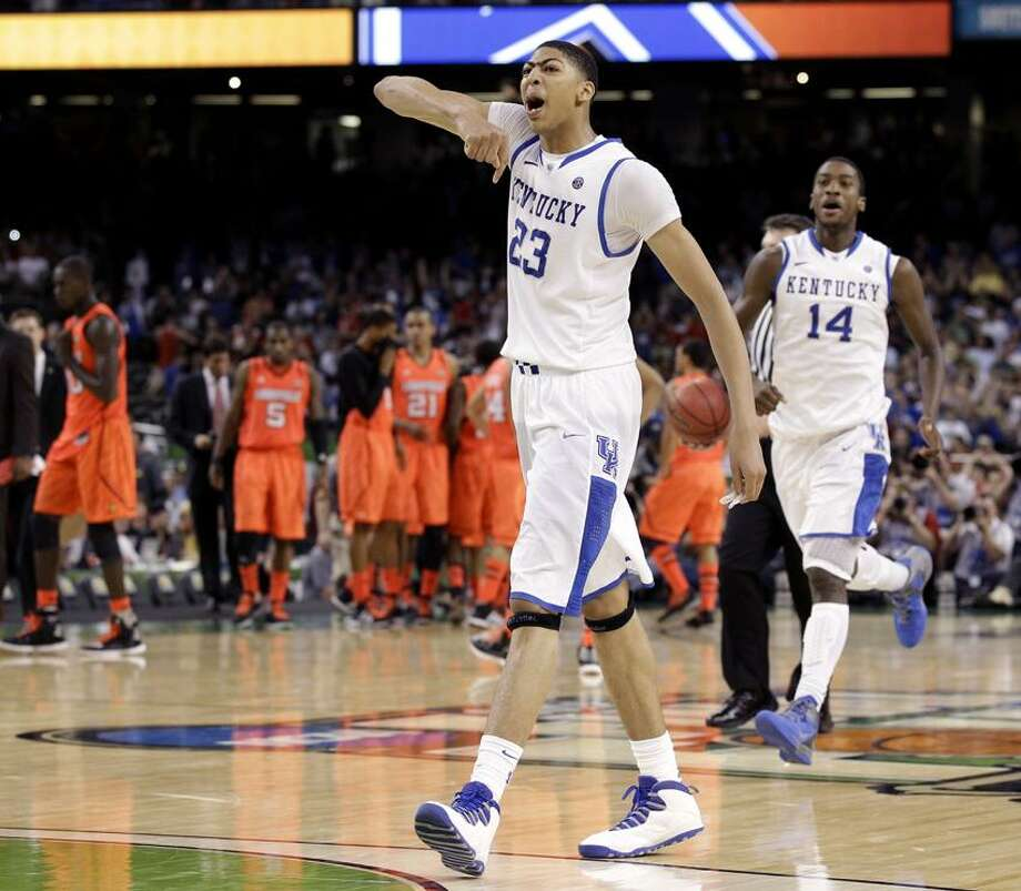 Kentucky forward Anthony Davis (23) reacts after defeating Louisville 69-61 in an NCAA Final Four semifinal college basketball tournament game Saturday, March 31, 2012, in New Orleans. (AP Photo/Charlie Neibergall) Photo: AP / AP2012