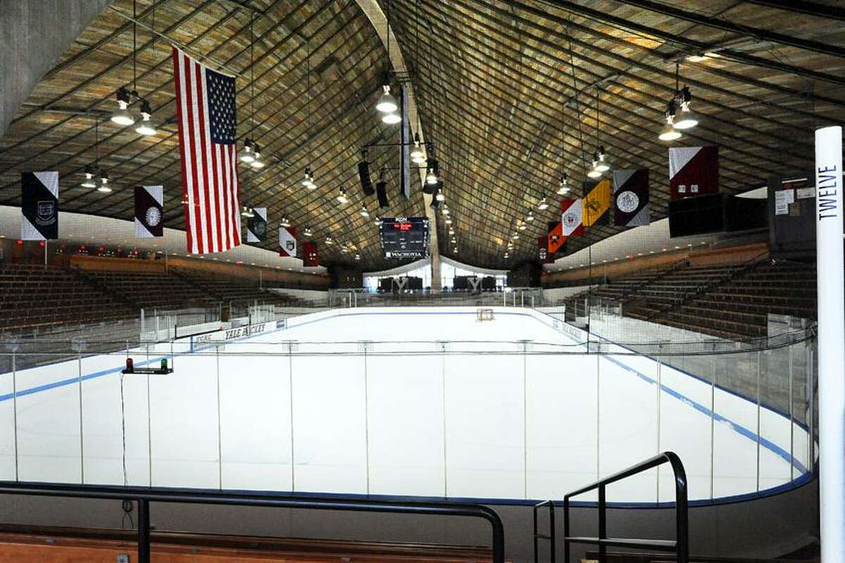 """The """"ice"""" at Ingalls Rink was removed and lowered to its original level and the pine ceiling was cleaned and resealed to restore it to it's original look. VM Williams 01.13.10"""