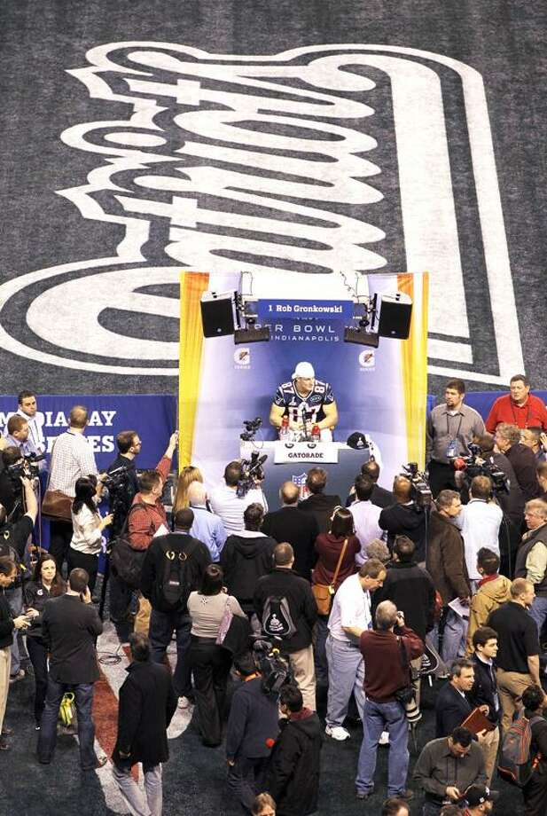 New England Patriots tight end Rob Gronkowski answers a question during Media Day for NFL football's Super Bowl XLVI Tuesday, Jan. 31, 2012, in Indianapolis. (AP Photo/Darron Cummings) Photo: AP / 2012 AP