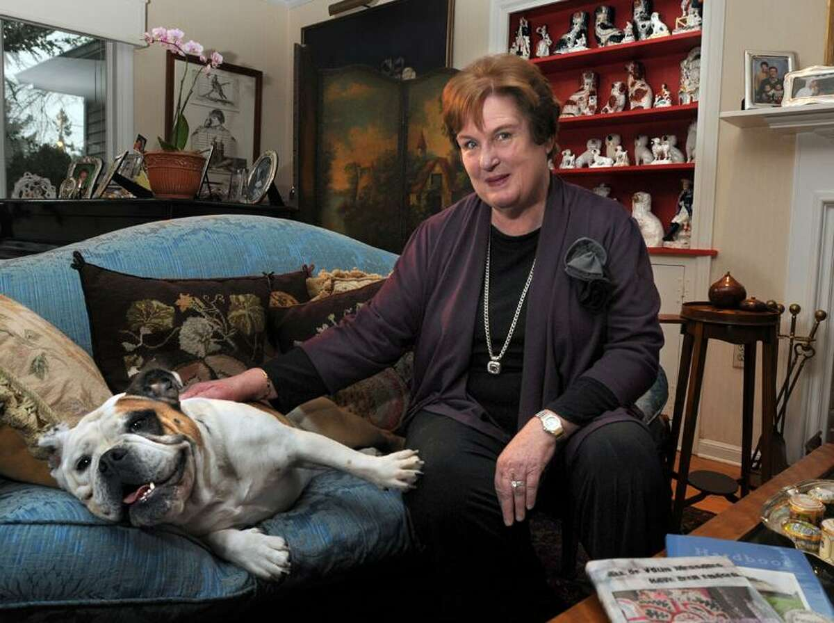 Poet, SCSU professor, multiple-honors recipient Vivian Shipley at home in North Haven with her dog Bailey. Mara Lavitt/New Haven Register3/28/12