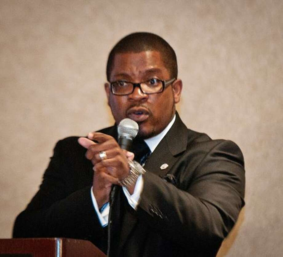 City_ Dr. Marco Clark, Founder/CEO of the Richard Wright Urban Charter School in Washington, D.C., addresses students at the 2012 College Summit Connecticut Annual Awards Luncheon. The event was held at the Omni Hotel.    Melanie Stengel/Register
