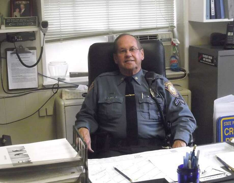 """RICKY CAMPBELL/ Register Citizen Litchfield constable, Cpl. Roger """"Dodgie"""" Doyle, who received the term of endearment from his brother at an early age, will be retiring from serving his hometown after 46 years. The policeman battled Lyme Disease, cancer and a heart attack, yet remained dedicated to serving his town, even with IVs in his arm at one point."""