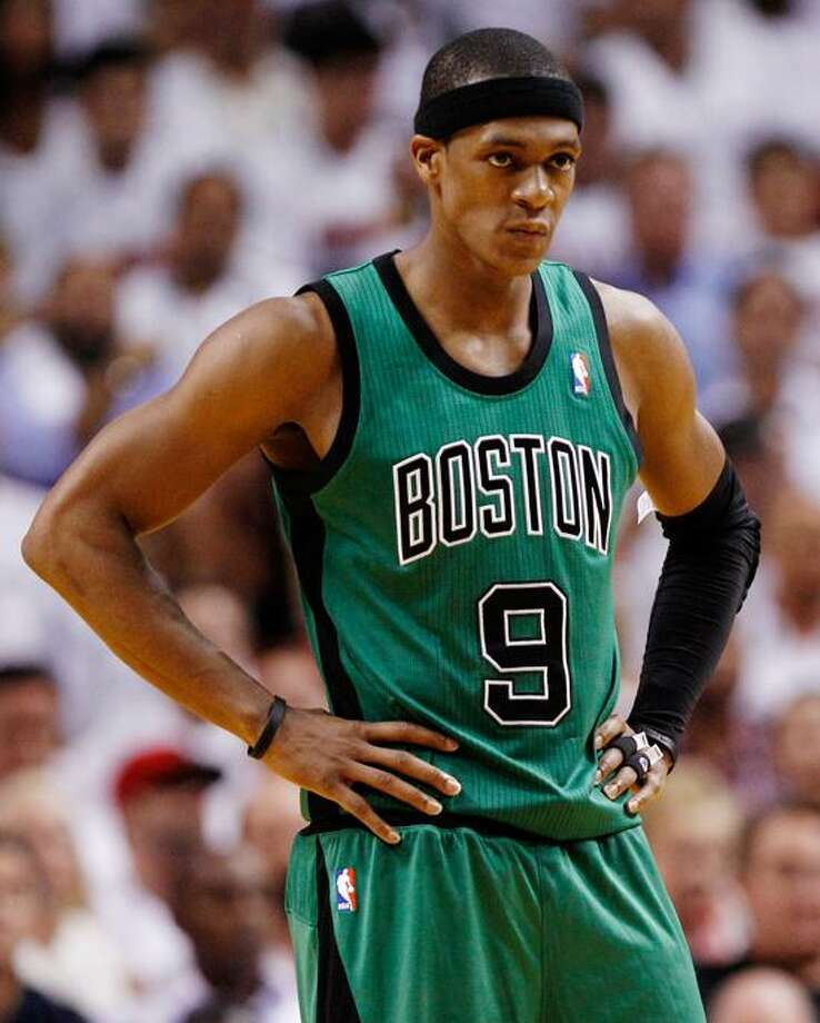 Boston Celtics' Rajon Rando (9) looks downcourt during the second half of Game 2 in their NBA basketball Eastern Conference finals playoffs series against the Miami Heat, Wednesday, May 30, 2012, in Miami. The Heat won to take a 2-0 series lead.(AP Photo/Lynne Sladky) Photo: AP / AP