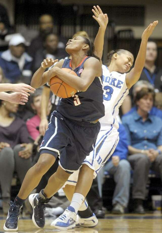 Duke's Shay Selby (3) collides Connecticut's Tiffany Hayes (3) during the first half of an NCAA women's college basketball game, Monday, Jan. 30, 2012, in Durham, N.C. (AP Photo/Sara D. Davis) Photo: AP / AP