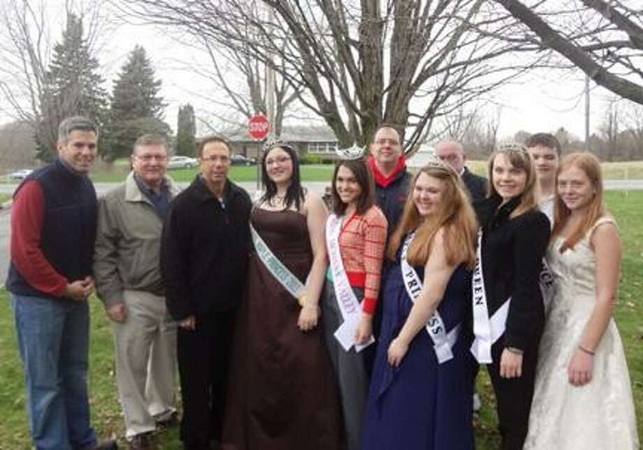 Photo Courtesy FRITZ SCHERZ JR. Assemblyman Anthony Brindisi, Assemblyman Ken Blankenbush, Senator Joe Griffo, Verona Town Board Councilman Fritz Scherz and NYS Assemblyman Bill Magee stand with members of the Maple Royalty at the conclusion of the VVS FFA Maple Weekend in Verona.