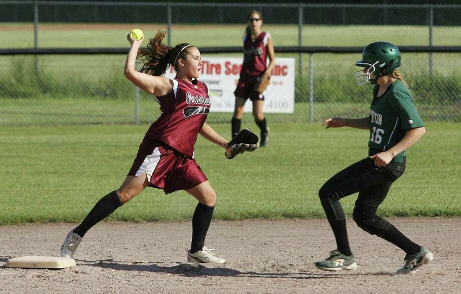 """Dispatch Staff Photo by JOHN HAEGER <a href=""""http://twitter.com/oneidaphoto"""">twitter.com/oneidaphoto</a> Oriskany's Savannah Bixler (7) throws to first after getting Hamilton's Meghan Holcomb (16) out at second for the double play in the bottom of the second inning of their Class D semifinal in Rome on Wednesday, May 30, 2012. Hamilton won 8-6."""