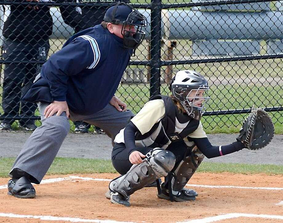 Submitted Photo Stockbridge Valley alum Cheyenne Bumpus has switched from pitching to catching this season for Herkimer County Community College's softball team.