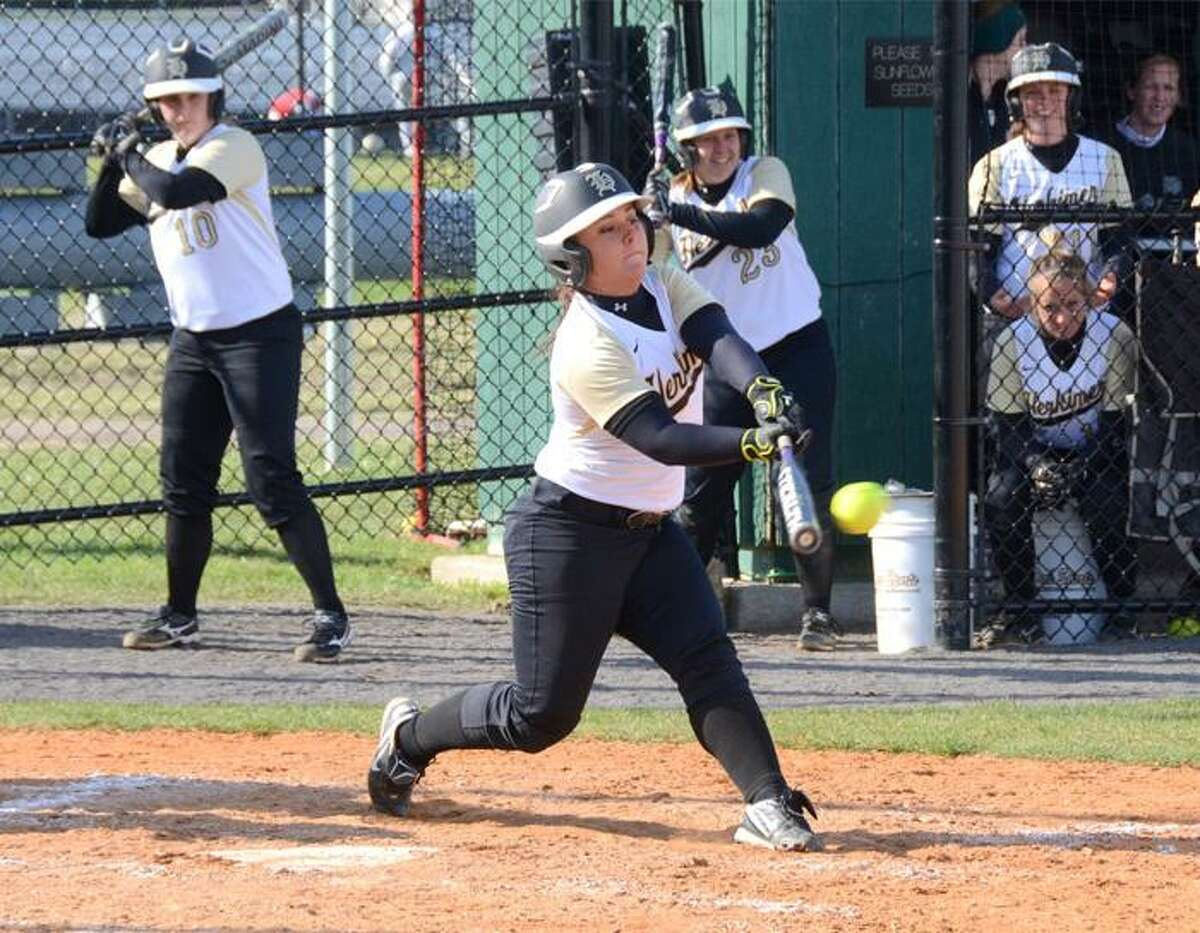 Submitted Photo VVS alum Stephanie Siriano connects with a pitch during her team's doubleheader sweep of Fulton-Montgomery on Monday. Siriano had four home runs in 11 games as a freshman for Herkimer County Community Colege.