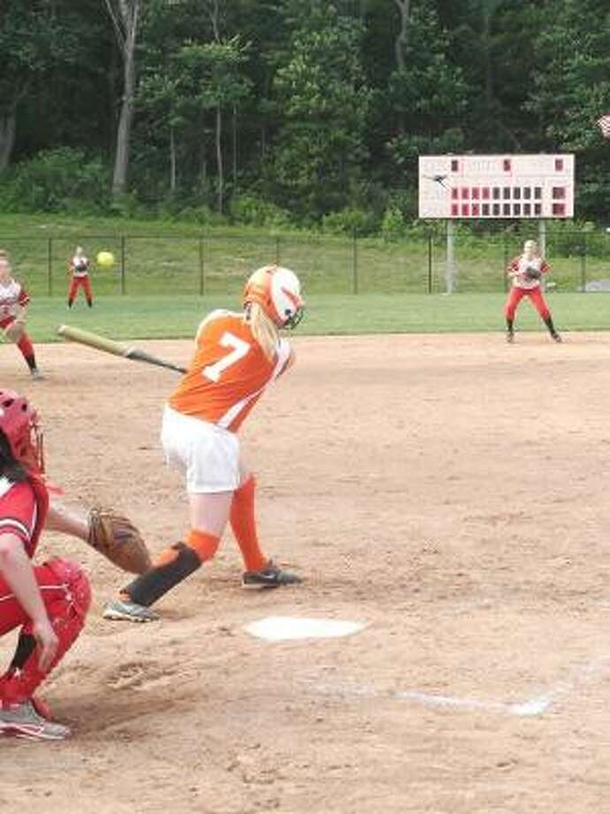 KEVIN D. ROBERTS/Register Citizen Terryville's Angel Katiewicz fouls off a pitch during Tuesday afternoon's Class S first round softball game against Wamogo at Terryville High School. The Kangaroos lost 1-0.