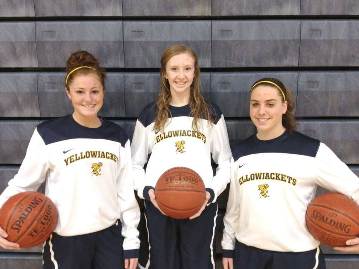 Submitted Photo From left, East Haven girls' basketball captains Danielle Polvan, Amanda Bradley and Shauna Dinneen.