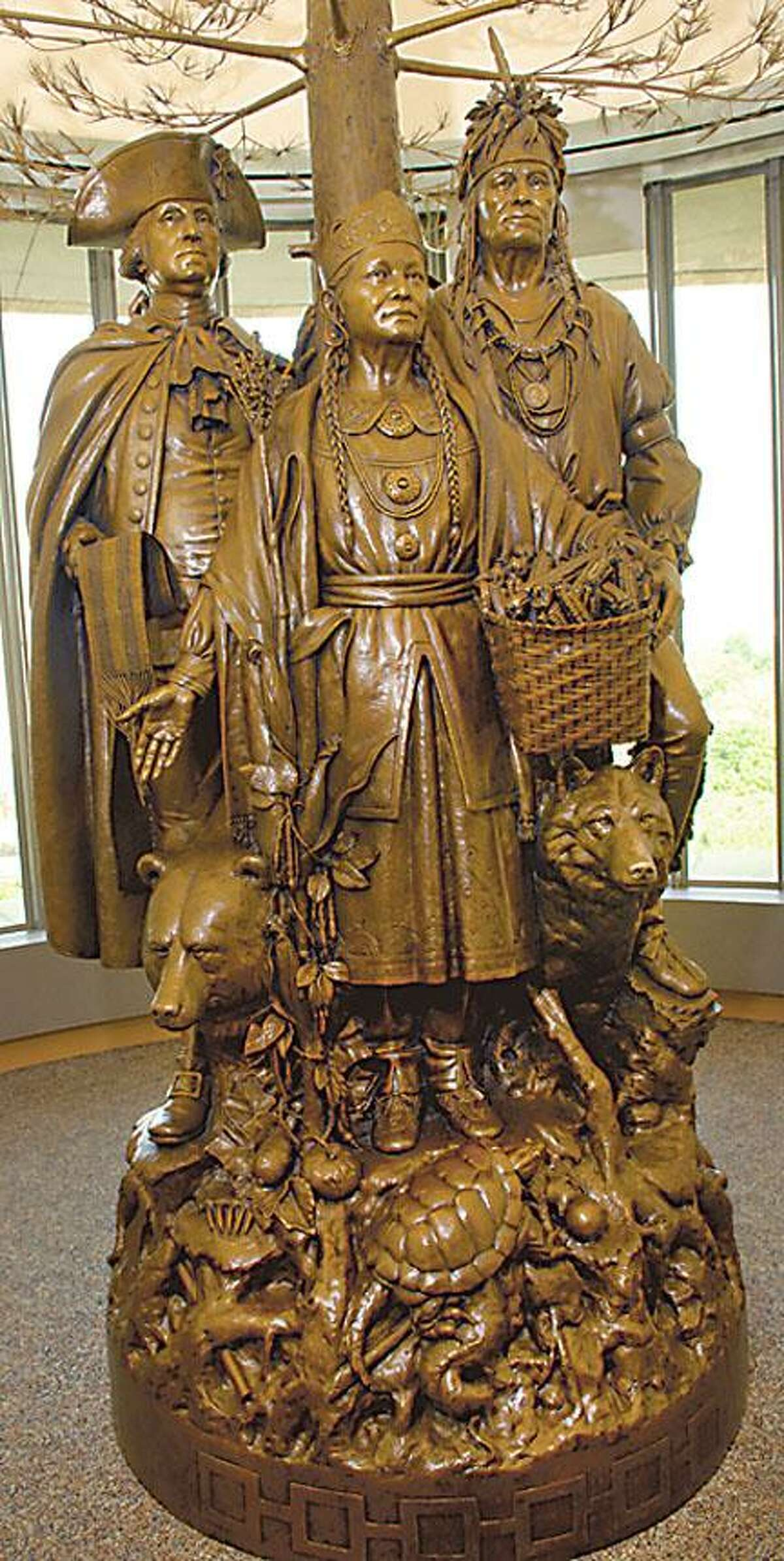 Courtesy Oneida Indian Nation Allies in War, Partners in Peace features, from left, George Washington Chief Skenandoah and Polly Cooper.
