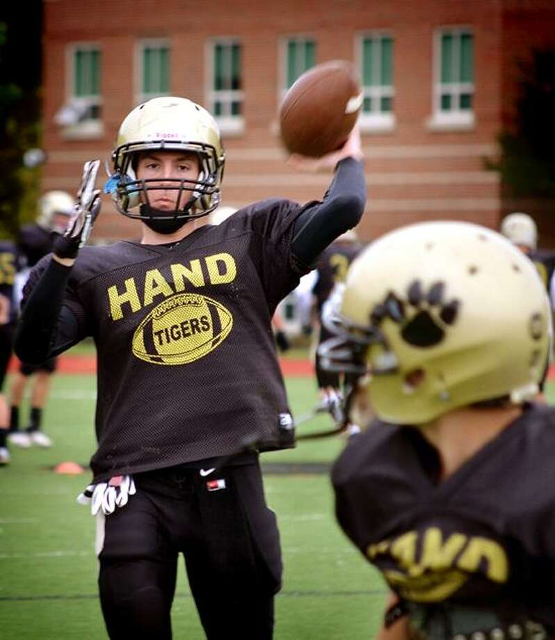 Quarterback Brendan Bilcheck and the top-ranked Hand football team hope to make it two straight Class L state championships. Melanie Stengel/Register.